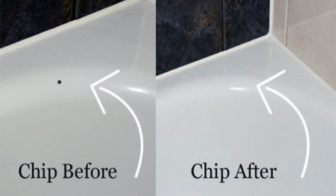 Before and after bath chip repairs